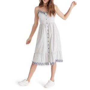 NWT Madewell Heather Embroidered Stripe Dress